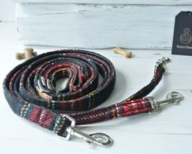 Black & Red Tartan Harris Tweed Leash